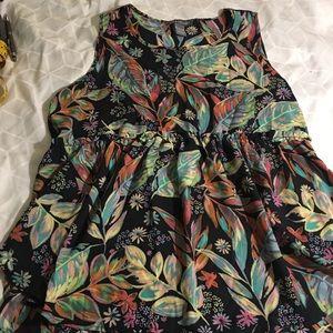 Kate Mallory L BK YEL pk teal Leaf floral H/L hem
